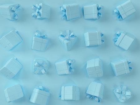 3d blue gift box scene.