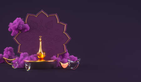 Diwali, festival of lights podium scene with 3d Indian Rangoli, glossy and golden decorative diya oil lamp, purple clouds. 3d rendering illustration. 版權商用圖片