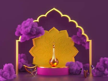 Diwali, festival of lights scene.