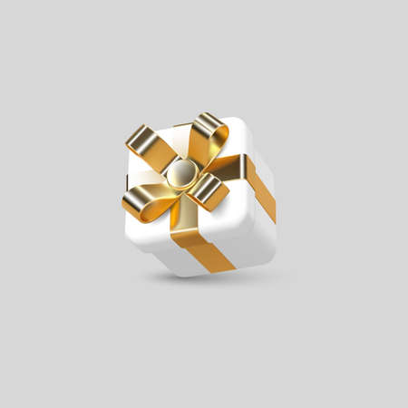 3d gift box wrapped golden ribbon