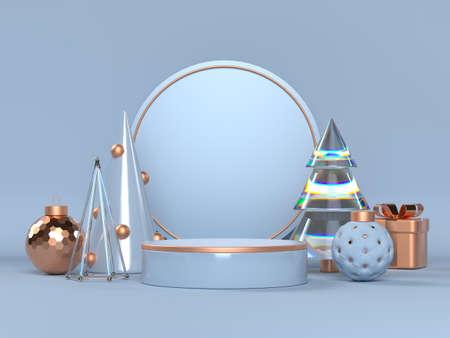 3d Christmas scene with podium.