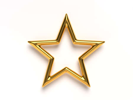 3d rendering single golden star.