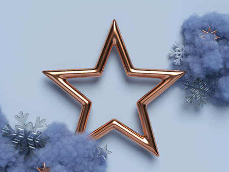 3d New Year scene with star.