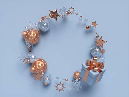 3d Christmas frame with gift box. 版權商用圖片