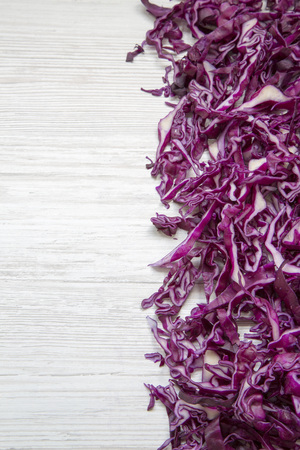 Chopped red cabbage, close-up. Top view, from above, overhead. Copy space.