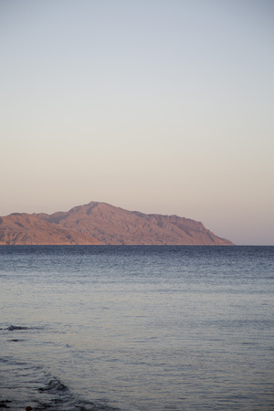 View of Tiran island and Red Sea in Sharm el Sheikh, Sinai, Egypt. Stock Photo