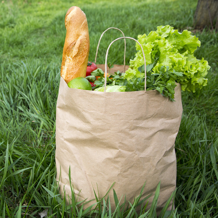 A full paper bag of healthy products stands on the grass, side view. Close-up.