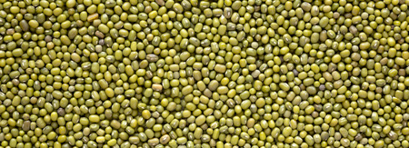 Raw green mung beans background, top view.