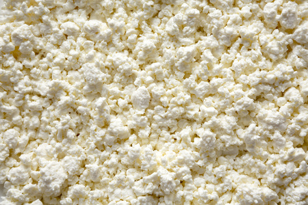 Homemade cottage cheese, top view. Close-up. Stock Photo