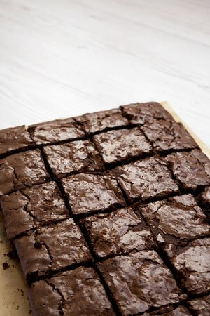 Homemade chocolate brownies, low angle view. Copy space.