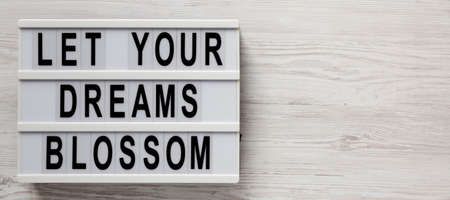 'Let your dreams blossom' on a lightbox on a white wooden background, top view. Space for text.