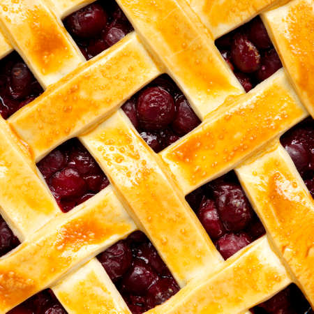 Yummy Homemade Cherry Pie, top view. Flat lay, overhead, from above. Close-up.