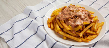 Homemade Animal Style French Fries on a white plate, low angle view. Copy space. 写真素材