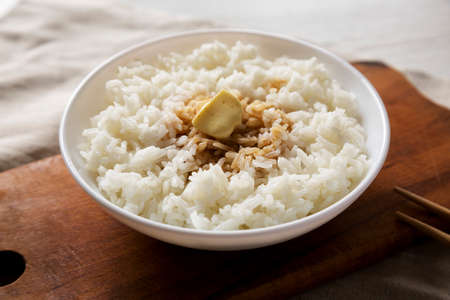 Homemade Japanese Butter Sauce Rice, side view. Close-up.
