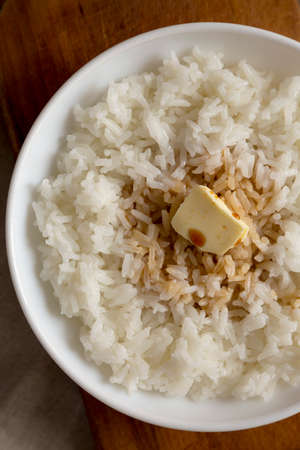 Homemade Japanese Butter Sauce Rice, top view. Flat lay, overhead, from above. Close-up. Stockfoto