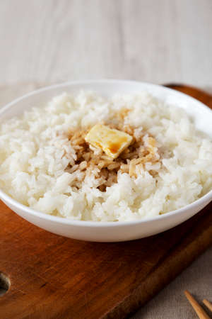 Homemade Japanese Butter Sauce Rice, low angle view.