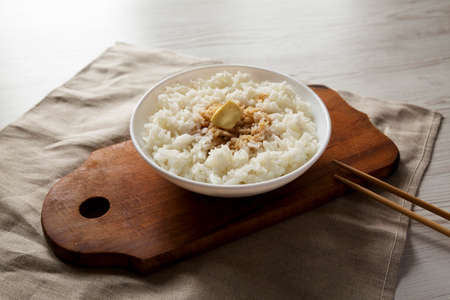 Homemade Japanese Butter Sauce Rice, side view.