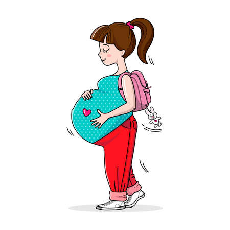 Beautiful happy mother to be. Fashion and style for pregnant women. Pregnant teenage girl on the walk. Cute big pregnant belly. Pregnancy illustration for card and print.