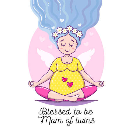 """Cute Pregnant Calm Woman. Waiting for baby vector illustration. Happy beautiful mother to be. Pregnancy card """"Blessed to be Mommy of Twins""""."""