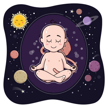 Cute embryo in its inner space. Fetus before birth. Newborn baby sit in lotus pose vector illustration. Ohm. Meditation concept. Yoga, planets, calm and silence.