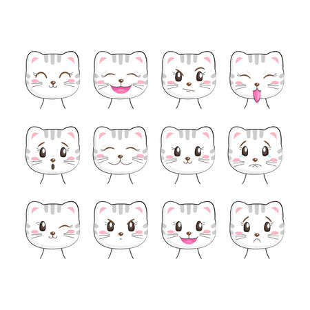 Set of cute kitty with different emotions, isolated on white background. Kawaii cat character. Useful for many applications (stickers, prints for apparel, scrapbooking projects ets).