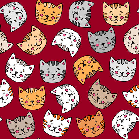Cute seamless pattern with pretty cats. Kittens. Kids cartoon vector background. Vector illustra