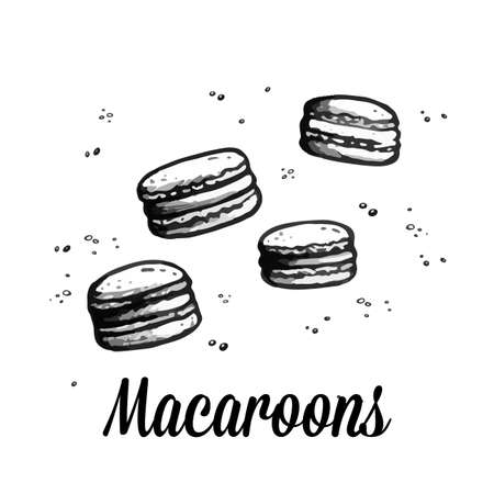 Macaroons sketch. Sweet bakery. Hand drawn vector illustration isolated on white background. Desserts and sweets menu design for restaurants and shop. Macaron.