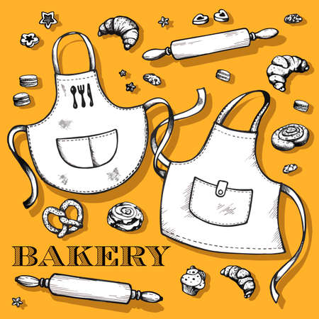 Hand drawn bakery set. Vector illustration isolated on yellow background. Collection of confectionery and kitchen stuff: apron, rolling pins, cinnamon rolls, croissant, macaroons, cupcakes, cookies.