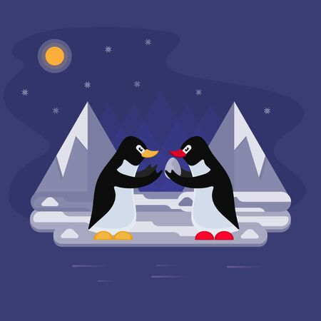 Vector illustration with a penguin in Antarctica who goes hunting and transfers the egg to another penguin for storage. Ilustrace