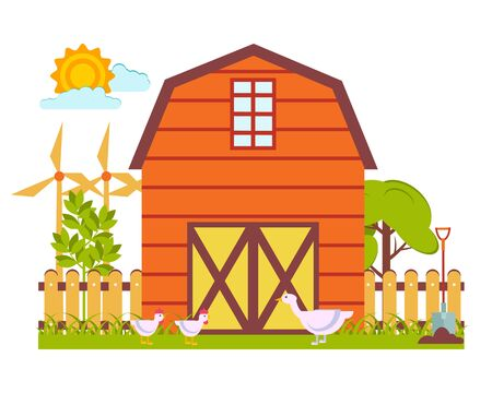 Vector illustration with a spring landscape in the form of a fragment of a farm with a barn, poultry on a background of trees and wind generators. The concept of gardening and working in nature.