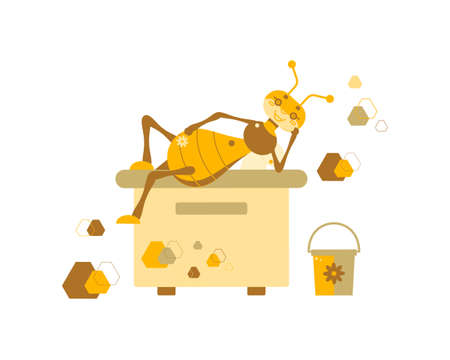 Vector illustration of a drone bee that lies on a hive with a flower on a background of honeycombs and a bucket. The concept of a healthy beehive and successful honey extraction. Flat design.