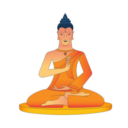 Meditating Buddha, with a medallion in the form of a wheel of samsara, hands show the Mudra Vitarka gesture, symbolizing the transmission of teachings without words. Vector illustration. Illustration