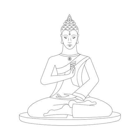 Meditating Buddha, with a medallion in the form of a wheel of samsara, hands show the Mudra Vitarka gesture, symbolizing the transmission of teachings without words. Anti-stress coloring pages.. Illustration