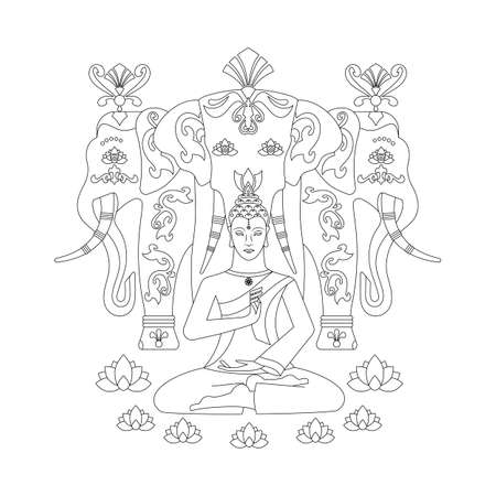 Meditating Buddha, with a medallion in the form of a wheel of samsara, hands show the gesture of Mudra Vitarka, against the background of the elephant Erawan. Anti-stress coloring pages.. Illustration