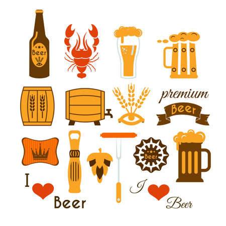 Set of beer icons. Vector illustration isolated on white background. Flat design..