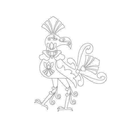 The mythical bird Hong. Pantheon of Thai deities. The concept of the sacredness of the ideas of southern Buddhism. Anti-stress coloring pages.. Vektorové ilustrace