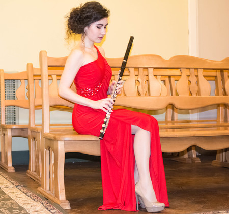 Beautiful girl with a flute Stock Photo