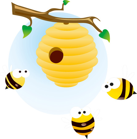 Cute bees - stock image photo