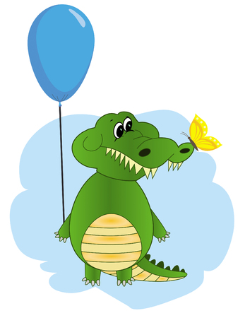 Greeting card Crocodile with balloon. Cute and funny crocodile holding balloon, cartoon vector illustration isolated on white background. Crocodile holding balloon, birthday greeting decoration Stockfoto