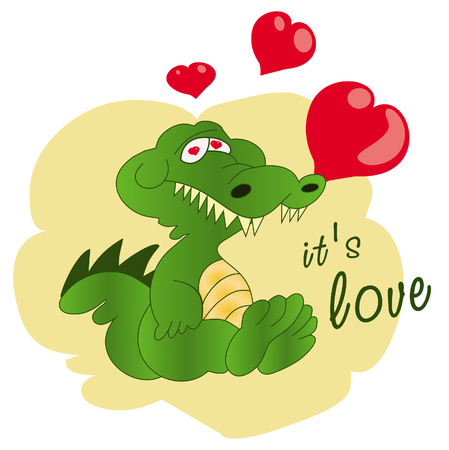 Cartoon crocodile with heart. I love you. I miss you. Be my Valentine. You are my Heart. Funny greeting card. Cute and funny crocodile holding red heart shaped balloon, cartoon vector illustration isolated on white background. Crocodile holding hearts birthday greeting decoration