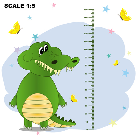 Kids meter with a cute smile cartoon crocodile and measuring ruler. Vector illustration of an animal isolated on a white background. Card Poster Height Sticker Concept Flat Design Style.