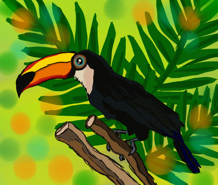 tropical background with beautiful toucan, green tropical leaves
