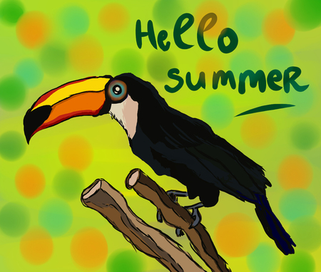 Cartoon toucan on the colorful background with text hello summer Stockfoto