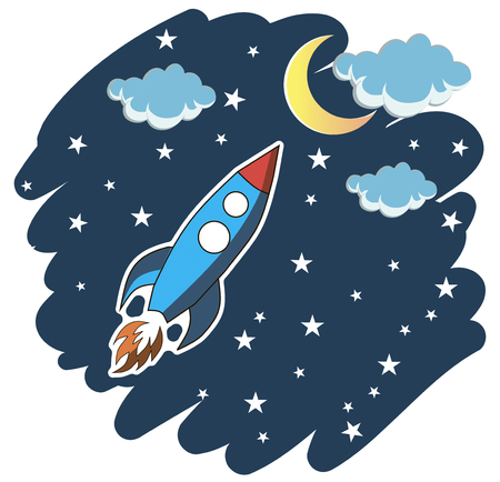 Cartoon rocket on space background