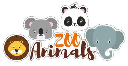 Cute cartoon zoo animals head stickers. Lion, koala, panda, elephant illustration on the white background