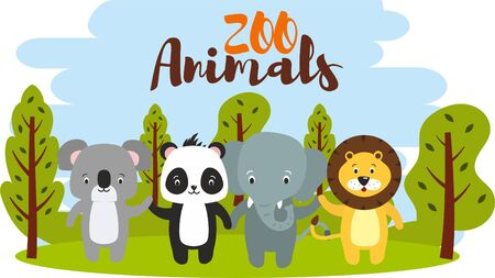 Set of cute zoo cartoon animal on the background with blue sky and green forest Stockfoto