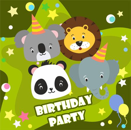 Happy birthday party background with cute cartoon zoo animal Imagens