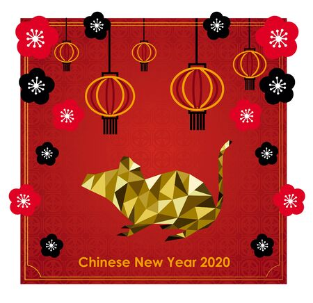 Chinese New Year 2020 greeting card with low poly of gold rat Stockfoto