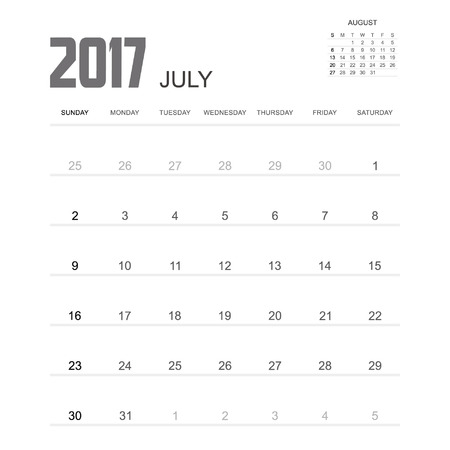 calendario julio: 2017 diseño de julio Calendario del planificador.