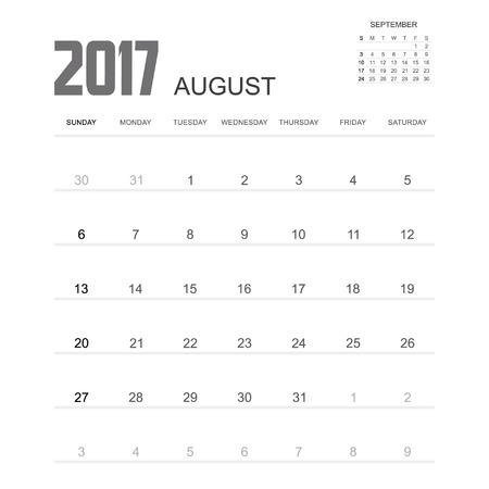 event planner: 2017 AUGUST Calendar Planner Design.